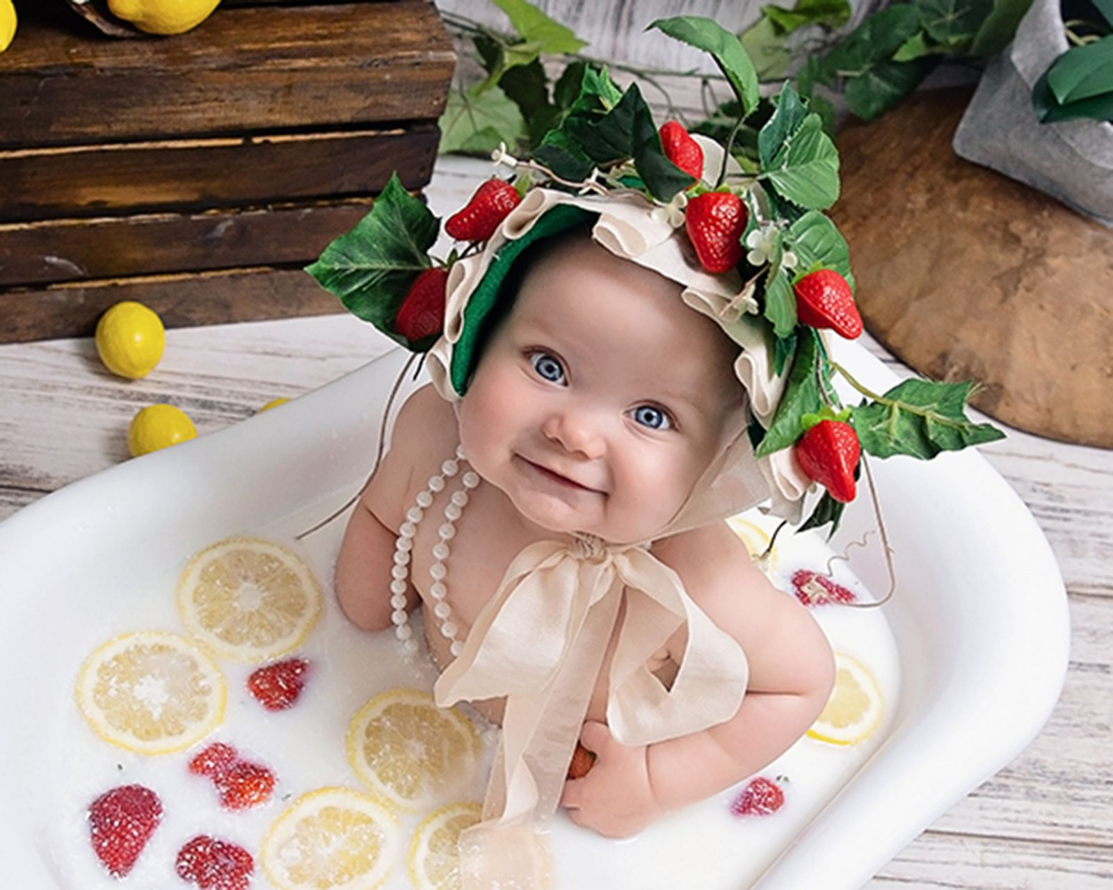 Milk bath session strawberries and lemons White Lavender Photography